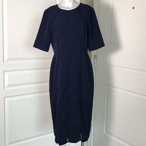 MAGGY LONDON NAVY BLUE SHORT SLEEVE SHEATH DRESS
